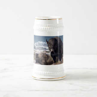 Bison Herd in Winter Beer Stein