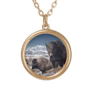 Bison Herd in Winter Necklaces