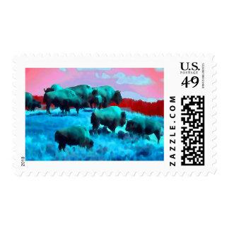 Bison Herd Postage Stamp