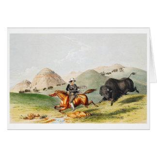 Bison hunting scene, 1845 card