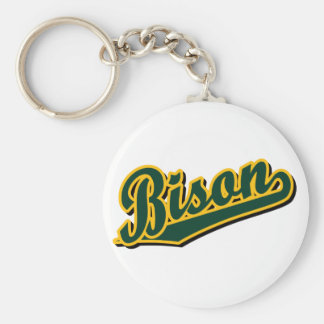 Bison in Green and Gold Keychain
