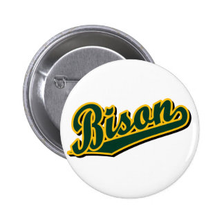 Bison in Green and Gold Pinback Button