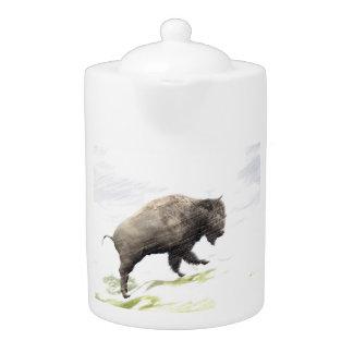 Bison in winter storm teapot