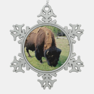Bison in Yellowstone Snowflake Pewter Christmas Ornament