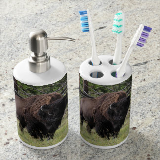 Bison of Yellowstone Photo Soap Dispenser & Toothbrush Holder