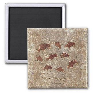 Bison Petroglyphs 2 Inch Square Magnet