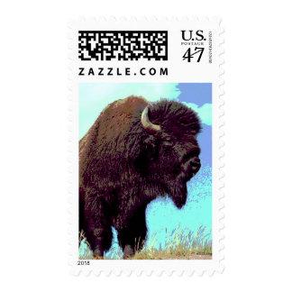 Bison Pop Art Postage Stamp