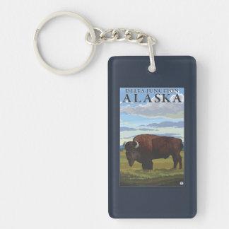 Bison Scene - Delta Junction, Alaska Double-Sided Rectangular Acrylic Keychain