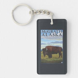 Bison Scene - McGrath, Alaska Double-Sided Rectangular Acrylic Keychain