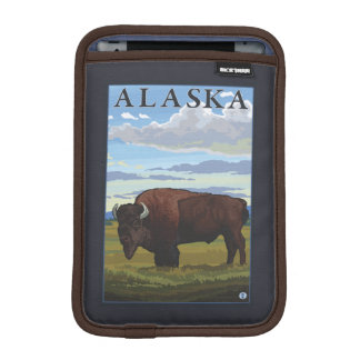 Bison Scene- Vintage Travel Poster Sleeve For iPad Mini