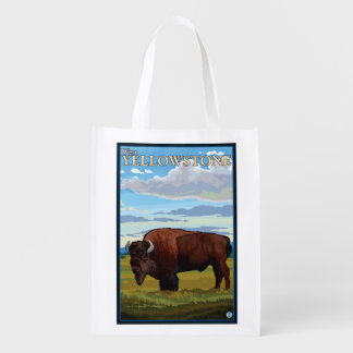 Bison Scene - West Yellowstone, Montana Grocery Bag