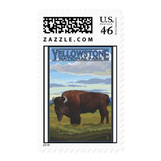 Bison Scene - Yellowstone National Park Stamps