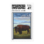 Bison Scene - Yellowstone National Park Stamp