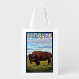 Bison SceneIdahoVintage Travel Poster Reusable Grocery Bag