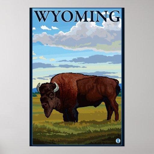 Bison SceneWyomingVintage Travel Poster