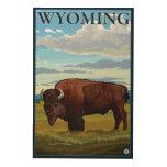 Bison SceneWyomingVintage Travel Poster Wood Canvases