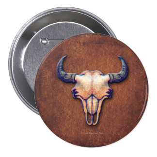 Bison Skull Painting on Brown Pinback Button