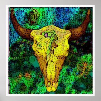 bison skull poster