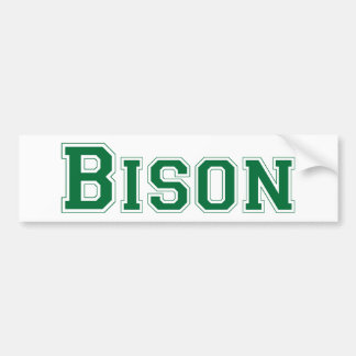 Bison square logo in green bumper sticker