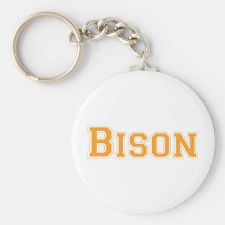 Bison square logo in orange keychain