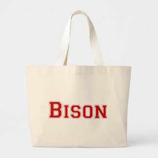 Bison square logo in red canvas bag