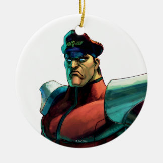 Bison Stare Double-Sided Ceramic Round Christmas Ornament