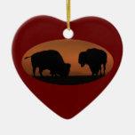 bison sunset christmas ornament