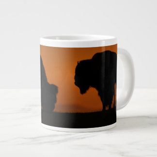 bison sunset large coffee mug