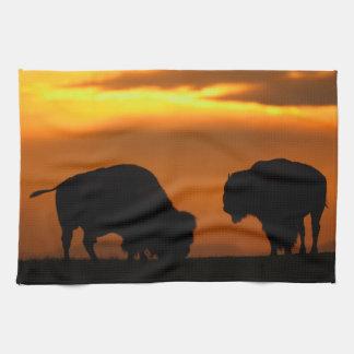 bison sunset towel