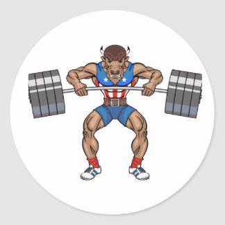 bison weight lifter classic round sticker