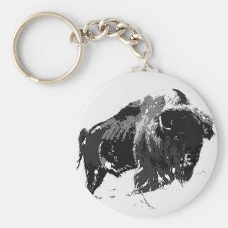 Bisonte/búfalo negros y blancos llavero redondo tipo pin
