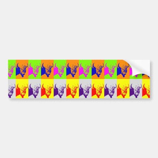 Bisonte del búfalo del arte pop de 4 colores etiqueta de parachoque
