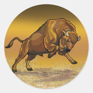 bisonte europeo pegatina redonda