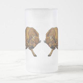 bisonte europeo taza de cristal