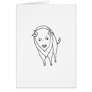 Bisonte flotante Bull - arte del búfalo del dibujo Felicitaciones
