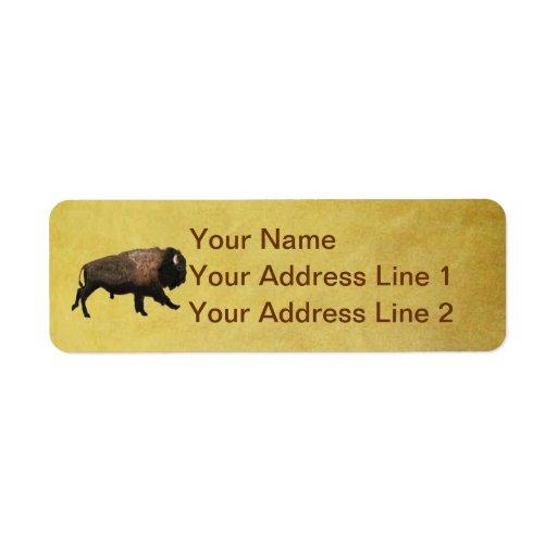 Bisonte galopante etiquetas de remite