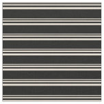 [ Thumbnail: Bisque and Black Colored Lined/Striped Pattern Fabric ]