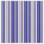 [ Thumbnail: Bisque and Blue Colored Stripes/Lines Pattern Fabric ]