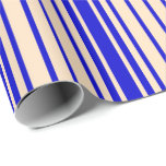 [ Thumbnail: Bisque and Blue Stripes Wrapping Paper ]