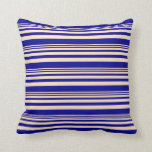[ Thumbnail: Bisque and Dark Blue Colored Pattern Throw Pillow ]