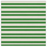 [ Thumbnail: Bisque and Dark Green Colored Lined Pattern Fabric ]