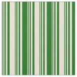 [ Thumbnail: Bisque and Dark Green Colored Pattern Fabric ]