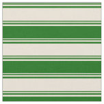 [ Thumbnail: Bisque and Dark Green Colored Pattern of Stripes Fabric ]