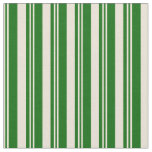 [ Thumbnail: Bisque and Dark Green Colored Stripes Fabric ]