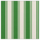 [ Thumbnail: Bisque and Dark Green Striped Pattern Fabric ]
