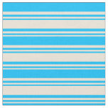 [ Thumbnail: Bisque and Deep Sky Blue Stripes Fabric ]