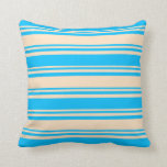 [ Thumbnail: Bisque and Deep Sky Blue Stripes Throw Pillow ]