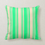 [ Thumbnail: Bisque and Green Colored Striped/Lined Pattern Throw Pillow ]