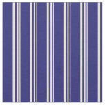 [ Thumbnail: Bisque and Midnight Blue Colored Lined Pattern Fabric ]