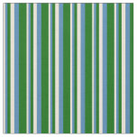 [ Thumbnail: Bisque, Blue, and Dark Green Stripes Pattern Fabric ]